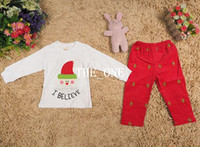 Wholesale Santa Set Kid Clothes - New christmas Children Pants suits 2 pieces long sleeve clothes Santa Claus pattern suits girls clothing sets boy suit kids clothing sets