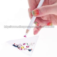 Gros-10x New 172mm cire blanche Gem strass cristal Perle Picker Pencil Nail Art Outil bricolage Pick Up Pen