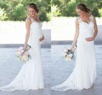 Wholesale Sexy Elegant Dress For Wedding - New Elegant Lace Maternity Wedding Dresses Cheap Romantic V Neck Empire Waist Wedding Dresses For Pregnant Women Plus Size Bridal Gowns