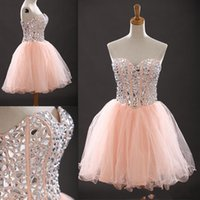 Wholesale Dancing Dresses Cheap - Party Dress 2015 Ball gown sweetheart crystal beaded Short Cocktail Dresses Cheap Prom Homecoming Dance Party Dresses Mini Bridal Gowns