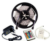 Wholesale per key - 5 Meter Per Roll RGB LED Strip Light SMD 3528 300 LEDS 12 Volt 60leds m Non-waterproof 24 Keys Remote Controller 2A Power Adapter 5m 12V CE