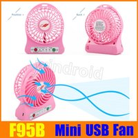 Wholesale Usb Operated Fan - F95B Attractive Portable cool Mini USB Fan Rechargeable Battery Operated LED Lamp for Indoor Outdoor Kids Table 18650 Battery free shipping