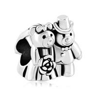 teddybäume groihandel-Groß-und Einzelhandel Rhodium Silber Farbe Überzug Liebe Bouquet Teddy Pflege Bär Bead Charm Fit Pandora europäischen DIY Armband