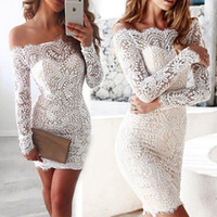 Wholesale Ladies Long Sleeve Night Gown - Sexy package hip splicing Slim short paragraph Womens Evening Party Dress Ladies Formal Wedding Lace Dress