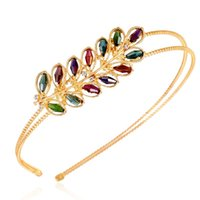 Wholesale Gold Leaves Hairband - Fashionable Leaves Hairband 7 colors Yellow Gold Plated with Austrian Crystal Hair Accessory Jewelry Woman Girl's Free Shipping