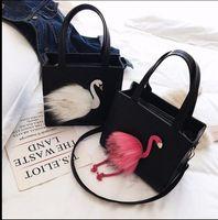 Wholesale Flamingo Handbags - Women Handbags Fashion Pink flamingos Swan bag PU Leather Shoulder Messenger Bag Tote Crossbody Bags KKA3294