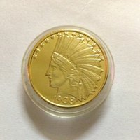 Wholesale p ten - HOT SELLING $10 2 PCS (1908-P-D) Real 24K gold plating Indian Head Ten Dollars Or Eagle No Motto Dollar Gold   FREE SHIPPING