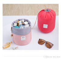 Wholesale Wholesale Women Bag Europe - 2017 New Korean elegant large capacity Barrel Shaped Nylon Wash Organizer Storage Travel Dresser Pouch Cosmetic Makeup Bag For Women