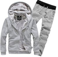 Wholesale thick fleece pants men 3xl - fashion 2015 Tracksuit for Man Casual Spring Autumn Thicking Hoody Fur Lining Fleece Hoodies Pant Men's Sports Clothing Sets Sweat Suits