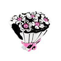 encantos del ramo al por mayor-Fábrica al por menor rosa rosa Rhinestone cristalino de la boda ramo Bowknot Lucky Beads Charms Fit Pandora pulsera