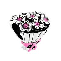 rosa rosa para pulseiras venda por atacado-Fábrica de Varejo Rosa Rosa Strass Cristal De Noiva Buquê De Casamento Bowknot Sorte Contas Encantos Fit Pandora Pulseira