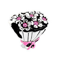 rosa rosafarbener charme für armbänder großhandel-Fabrik Einzelhandel Rose Rosa Strass Kristall Braut Hochzeit Bouquet Bowknot Glück Perlen Charms Pandora Armband