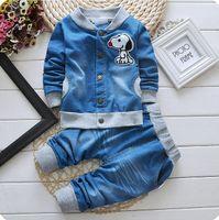 Wholesale Clothing Girl Jean - Autumn spring kids suit boys girl coat+pant set 2 pieces children long sleeve jean clothes suit blue colors