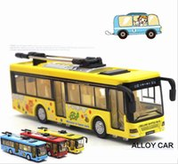1:50 Scala City Bus Tram Model High Simulation Alloy Pull Back Bus DieCast Metal Model Music Flash Toy Vehicle