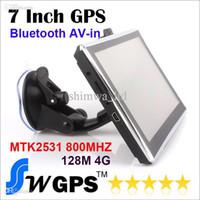 china bluetooth inch grátis venda por atacado-Navegador do veículo da navegação do GPS do carro de 7 polegadas MTK2531 800MHZ 128MB 4GB FMT MP3 / 4 multilingue Vitória CE 6,0 bluetooth AV-in New Map livre