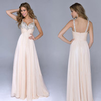 Wholesale New Sexy Backless Spaghetti Beaded - Sexy Long Spaghetti Beaded Coral Chiffon Prom Dresses Party Evening Gown 2015 New Style Backless Floor Length Formal Women Vestidos De Festa