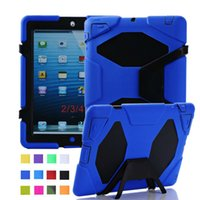 Wholesale Military Duty Hard Case - 1Pcs Silicone Back Cover Hard Stand Case For iPad 2 3 4 Defender Shockproof Sur vivor Military Duty Shockwave Case For iPad 4 3 Free Ship