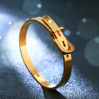 Wholesale Trendy Belt Bracelets For Women - Brand Anil Arjandas Vintage Style Stainless Steel Plated Gold Belt Bracelet Trendy Belt Bangle Bracelet For Men Women Free Shipping DZ0111