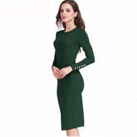 Wholesale Tight Office Dresses - 2018 fishion sportswear tightest breatiful girl dress tight skirt cotton autumn winter office long Sleeve knitwear Dress