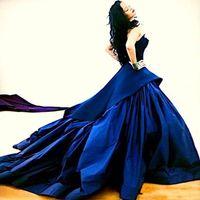 Wholesale Empire Waist Strapless Formal Dresses - Dark Blue Sexy Rihanna Celebrity Dresses Stunning Strapless Empire Waist A Line Prom Gowns Formal Backless Plus Size Evening Ball Gowns