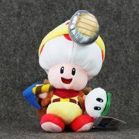 Wholesale Super Mario Toad Plush - Hot ! 5pcs Lot Super Mario Bros New Toad Plush Toys Captain Toad Soft Stuffed Dolls Gift For Kids 22cm