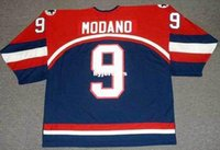 Personnalisé pas cher 9 MIKE MODANO 2002 USA Mens Olympic Throwback Hockey Jersey