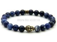 ingrosso doni vena-2015 nuovo arrivo di alta qualità mens braccialetti di perline all'ingrosso 8mm naturale blu vene perline bronzo antico buddha bracciali regali