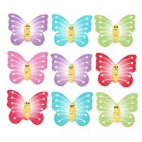 Wholesale Wood Buttons 25mm - 100PCS Cute Kid Wood butterfly Handmade wooden Mixed Color Craft Decoration Button DIY Fitting 25mm 34# 111851
