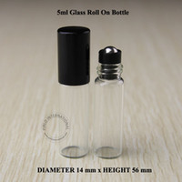 Wholesale Small Perfume Roll - 50pcs Lot Promotion 5ml Roll on Bottles Essential Oils Empty Refillable Perfume Containers black lid Small Packaging Travel Portable Vial