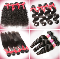 Wholesale Curly Dye Colors - 6A Brazilian Body Wave Straight Deep Wave Curly Wavy Hair Weave Human Virgin Hair Natural Black Brown Color Can Be Dyed 3 Bundles