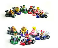 Wholesale Mario Karts - Super Mario Bros Karts Pull Back Cars PVC Action Figure Collection Model Toys Dolls Classic Toys Christmas Gifts 6pcs set