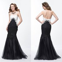 Wholesale Evening Purple Memaid Dress - Sexy Memaid Prom Dresses Lace Appliqued Strapless Sleeveless Prom Gown Tulle Floor Length Black And White Evening Dress