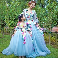 Wholesale Cute Images - Two Pieces Dresses real image Cute Flower Girls Dresses Multi Color Handmade Flowers Beautiful Floor Length Half Sleeve Mother And Daughter