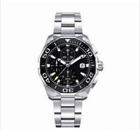 Wholesale quartz analog watch movement - luxury brand men watches Chronograph Watch 43mm Ceramic Bezel Stainless Steel Quartz Movement Sports Watches Aquaracer Wristwatches