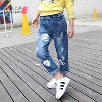 Wholesale Baby Skull Jeans - Wholesale-new arrivel 2015 Autumn Children's denim jeans Personality skull pattern hole trousers&2-8 Years Old baby girl clothing