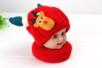 Wholesale Children Fleece Hat Scarf Wholesale - 2015 Winter Children Fleece Thick Hat Demon Antlers Woolen Hat and Scarf 2 Pieces Set