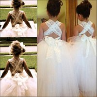 Lovely White Ivory Lace Flower Girl Dress для свадьбы A-line Cross Criss Kids Princess Dress Girl Tutu Dress на заказ