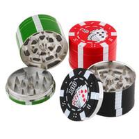Wholesale Chip Grinder - Smoking Dogo Las Vegas Herb Poker Chip Tobacco Grinder Red Black Green Color Opthins Free Shipping