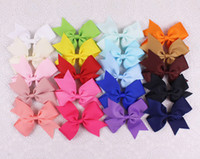 Wholesale Top Selling Hair Bows - 20pcs top selling 4inches lasting Grosgrain hair accesorries baby girl toddler boutique solid hair bows WITH clips 2788-Y