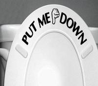 calcomanías de baño al por mayor-'' PÓNGAME ABAJO '' Divertido pegatinas de baño de vinilo decorativo a prueba de agua Cuarto de baño Decoración Arte de la pared Calcomanía Envío Gratis ZYVA-329
