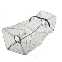 Wholesale Dip Nets - 50 * 21 * 21cm Foldable Nylon Fishing Net Floding Crab Fish Crawdad Shrimp Minnow Fishing Bait Trap Cast Dip Net Cage Y0346