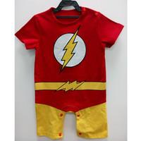 Wholesale Super Fancy - Baby Boys Romper Summer Short Sleeve Flash Romper Cotton Newborn Super Heros Costums Cosplay Cos Playsuit Fancy Clothes