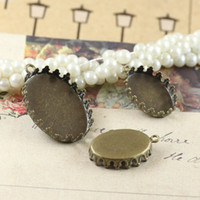 Wholesale Antique Round Blank - 100PCS 13*18mm 18*25mm antique bronze plated blank pendant charm crown base tray bezel round cabochon setting diy jewelry cy760
