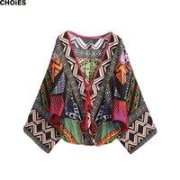 Wholesale Tribal Print Dolman Sleeve Top - CHOIES Summer Women Long Bat Sleeve Green Deep V Neck Tribal Print 2016 Blusa Feminina Tops Pullover Crop Cool Vintage Blouse