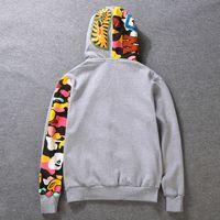 Wholesale thick fleece jackets men - Wholesale 2018 shark Camo Hoodie and hoodies trend double zipper cardigan jacket with fleece