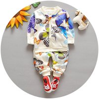 Wholesale Pants Covers - 2016 Spring Autumn Baby Boy Girl Outfits Set 2pcs Outfit Butterfly Zipper Jacket + Pants Children Outdoor Sport Set K6280