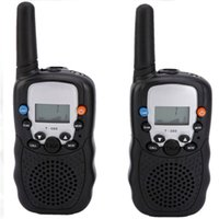Wholesale Portable T - Wholesale-2pcs Walkie Talkie portable ham radio T-388 Black Mini Wireless LCD 5KM UHF VOX Multi Channels transceiver Way Radio