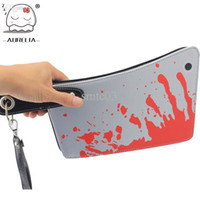 Wholesale Blood Handbag - Wholesale-Cleaver Clutch Bags Blood Choppers Purse Handbag Creative Phone Package Mans Womens Novelty Bag
