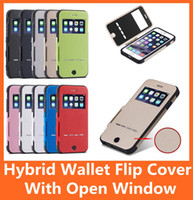 Wholesale Tough Leather Wallet Wholesale - Hybrid Slim Tough Armor Shockproof Wallet Flip Leather Case Smart Cover for Iphone 6 Plus 4.7 5S 5 Samsung Galaxy Note 3 S6   Edge LG G3