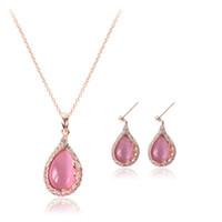 ingrosso orecchini di turchese delle collane-Set di gioielli orecchini di opale collana set di gioielli di strass moda completa 18kgp rosa gioielli di colore turchese CAL21053A